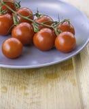 Tomates-cerises rouges juteuses fraîches Photographie stock libre de droits