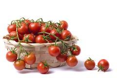 Tomates-cerises sur le bois Photographie stock libre de droits
