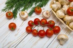 Tomates, cogumelos e ervas Imagens de Stock Royalty Free