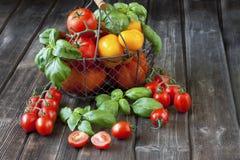 Tomates coloridos em uma cesta Fotos de Stock