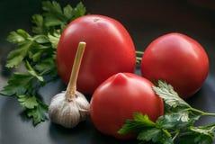 Tomates com alho Fotografia de Stock Royalty Free