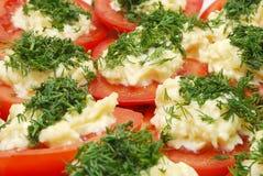 Tomates com Horseradish e salsa Imagem de Stock
