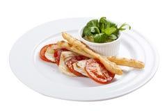 Tomates com musse do abacate fotografia de stock