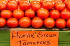 Tomates con la muestra en el mercado de los granjeros foto de archivo libre de regalías