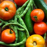 Tomates, concombres, et haricots verts Photos stock
