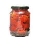 Tomates conservados en los tarros de cristal Imagen de archivo