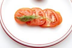 Tomates cortados frescos Imagenes de archivo