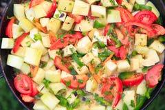 Tomates, courgette, peper, oignon cuit Photographie stock libre de droits