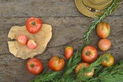 Tomates crudos rojos Imágenes de archivo libres de regalías