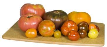 Tomates d'héritage sur le panneau de découpage Image libre de droits