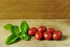 Tomates da uva e um leafe da manjericão em uma placa de madeira em um estúdio Imagem de Stock