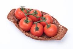 Tomates dans un panier Photos stock