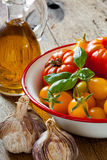 Tomates dans une cuvette, un ail, un basilic et une huile d'olive Photographie stock libre de droits