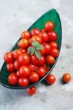 Tomates dans une cuvette verte Image stock