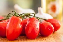 Tomates de ameixa frescos do verão fotografia de stock royalty free