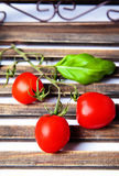 Tomates de cereja com manjericão Imagem de Stock Royalty Free