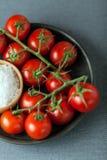 Tomates de cereja com sal natural do mar imagens de stock