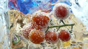Tomates de cereja congelados no cubo de gelo vídeos de arquivo