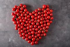 Tomates de cereja em um formulário de dano Fundo colorido dos tomates dos tomates Fotos de Stock