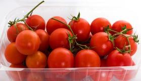 Tomates de cereja em uma caçarola no fundo branco Fotografia de Stock Royalty Free