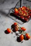 Tomates de cereja frescos no ramo na cesta do ferro Fotografia de Stock Royalty Free