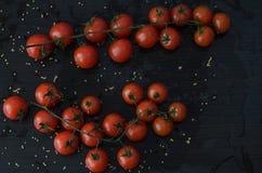 Tomates de cereja no fundo preto Imagens de Stock Royalty Free