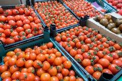 Tomates de cereja no mercado, vista superior Fotos de Stock Royalty Free