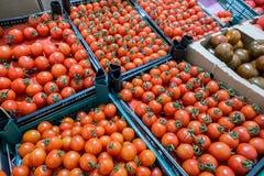 Tomates de cereja no mercado, vista superior Imagens de Stock Royalty Free