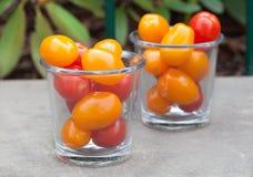 Tomates de cereja vermelhos e amarelos nos vidros Imagens de Stock Royalty Free
