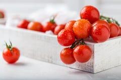 Tomates de cereja vermelhos pequenos no fundo rústico Tomates de cereja na videira Fotografia de Stock