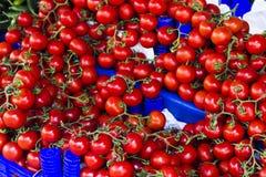 Tomates de cereza dulce en el bazar turco de la calle Imágenes de archivo libres de regalías