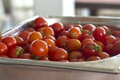 Tomates de cereza en descensos del agua y en una bandeja del profesional del metal fotos de archivo