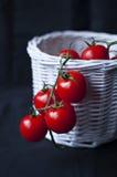 Tomates de cereza en la cesta blanca Fotos de archivo
