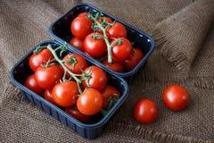 Tomates de cereza en un envase de plástico en fondo marrón imagen de archivo