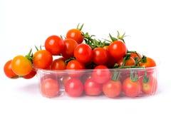 Tomates de cereza en una rama en caja plástica al por menor transparente Imagenes de archivo