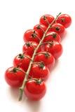 Tomates de cereza en una vid Imágenes de archivo libres de regalías