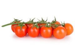 Tomates de cereza frescos en un fondo blanco Imagenes de archivo
