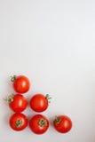 Tomates de cereza frescos en un fondo gris Imagenes de archivo