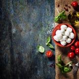 Tomates de cereza, hojas de la albahaca, queso de la mozzarella y aceite de oliva Fotos de archivo libres de regalías
