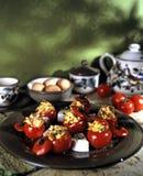 Tomates de cereza rellenos foto de archivo