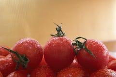 Tomates de cereza rojos fotos de archivo