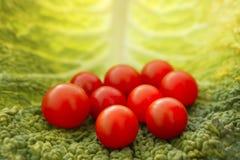 Tomates de cereza y hoja de la col Imagen de archivo libre de regalías