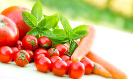Tomates de cereza y tomates Fotografía de archivo libre de regalías