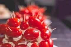 Tomates de cocktail avec du fromage sur la crête d'un plat Photographie stock