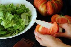 Tomates de coupe de main du ` s de femme image stock