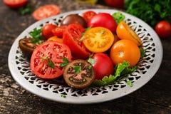 Tomates de différentes couleurs avec les herbes vertes Images stock