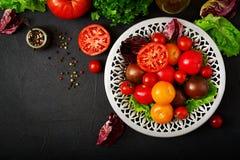 Tomates de différentes couleurs avec les herbes vertes Photographie stock libre de droits