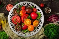 Tomates de différentes couleurs avec les herbes vertes dans une cuvette Images libres de droits