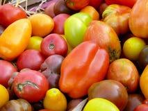 Tomates de la herencia en el mercado de los granjeros Fotos de archivo