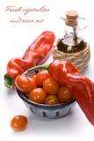Tomates de la pimienta y de cereza de Ramiro Imagen de archivo